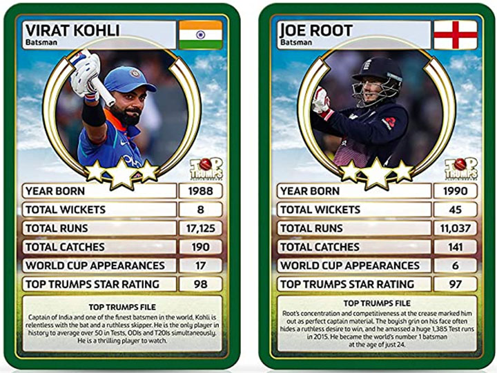 Kohli and Root in Top Trumps