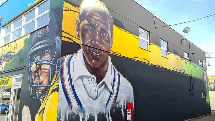 Mark Alleyne mural at the Bristol County Ground
