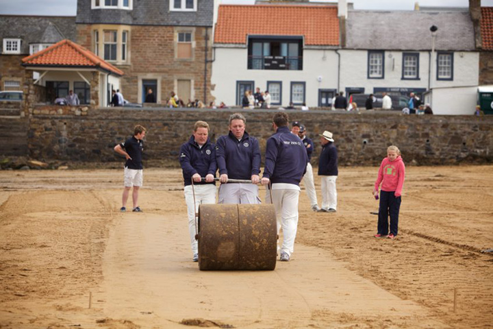Beach cricket at last returns to the beach in Fife