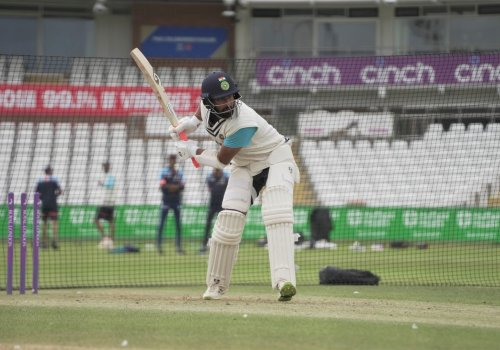 Cheteshwar Pujara drives during his stint in the nets.