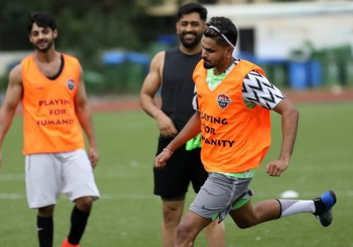 Dhoni and Iyer indulged in an action-packed game of football