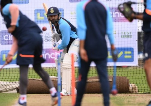 Rohit Sharma faces throwdowns in the nets.