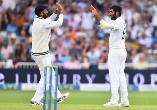 Jasprit Bumrah celebrates the wicket of Jimmy Anderson.