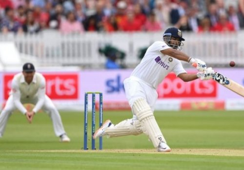 Rishabh Pant falls looking to up the ante.